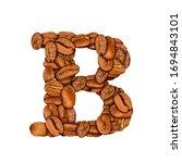 coffee bean font. alphabet... | Shutterstock . vector #1694843101