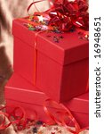 red gift boxes with bows and... | Shutterstock . vector #16948651