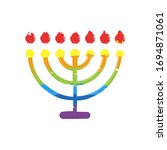 Hanukkah Icon Or Menorah Lamp....