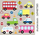 cute vehicles  transport set | Shutterstock .eps vector #169487585