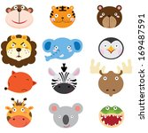 cute animal heads set | Shutterstock .eps vector #169487591