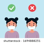 cute girl showing how to wear a ... | Shutterstock .eps vector #1694888251