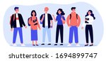 cheerful college students with... | Shutterstock .eps vector #1694899747