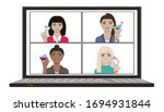 women hangout and have remote... | Shutterstock .eps vector #1694931844
