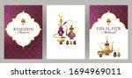 vintage vector set ramadan... | Shutterstock .eps vector #1694969011