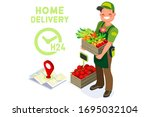 symbolic fast food delivery...   Shutterstock .eps vector #1695032104