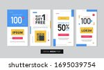 set of editable sale banner... | Shutterstock .eps vector #1695039754