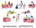 home with girl working in... | Shutterstock .eps vector #1695042451
