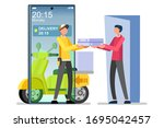 symbolic fast food delivery... | Shutterstock .eps vector #1695042457