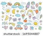 vector hand drawn kids doodle... | Shutterstock .eps vector #1695044887