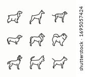 icon set dog breeds fullbody...   Shutterstock .eps vector #1695057424
