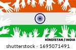 putting hands on india flag ... | Shutterstock .eps vector #1695071491