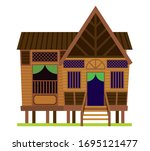 malay vintage house....   Shutterstock .eps vector #1695121477