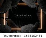 dark monochrome tropical design ... | Shutterstock .eps vector #1695162451