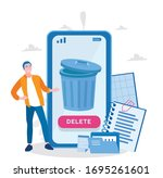trash bucket with documents... | Shutterstock .eps vector #1695261601