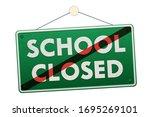 school closed vintage hanging... | Shutterstock .eps vector #1695269101