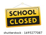 school closed hanging sign... | Shutterstock .eps vector #1695277087