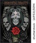 black and white skull girl with ... | Shutterstock . vector #1695315094