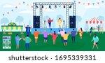 cartoon people on music... | Shutterstock .eps vector #1695339331