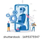 chatbot or artificial... | Shutterstock .eps vector #1695375547