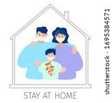 family quarantined. mom  dad... | Shutterstock .eps vector #1695384571