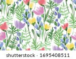 floral seamless background... | Shutterstock .eps vector #1695408511