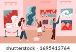 museum visitors looking at... | Shutterstock .eps vector #1695413764