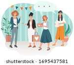 happy birthday  smiling guests... | Shutterstock .eps vector #1695437581