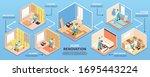 isometric repairs infographics...   Shutterstock .eps vector #1695443224
