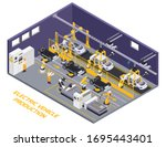 electric vehicles production... | Shutterstock .eps vector #1695443401