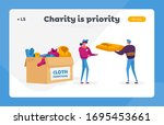 girl filling box with donated... | Shutterstock .eps vector #1695453661