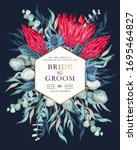 vintage wedding card with...   Shutterstock .eps vector #1695464827