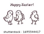 set of easter hand drawn... | Shutterstock .eps vector #1695544417