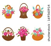 Set Of Baskets Of Flowers...