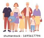 three generation happy full big ... | Shutterstock .eps vector #1695617794