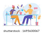 cute family couple works at... | Shutterstock .eps vector #1695630067