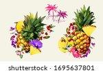 illustration of pineapples ... | Shutterstock .eps vector #1695637801