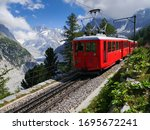 Scenic Train In Mountains  ...