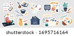 stay home vector stickers set.... | Shutterstock .eps vector #1695716164