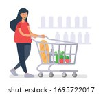 girl with a grocery cart makes... | Shutterstock .eps vector #1695722017