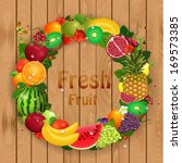 greeting card of fruit. round... | Shutterstock .eps vector #169573385