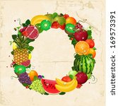 greeting card of fruit. round...   Shutterstock .eps vector #169573391