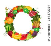greeting card of fruit. round...   Shutterstock .eps vector #169573394