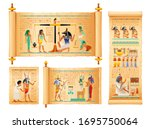 egyptian papyrus set from book... | Shutterstock .eps vector #1695750064