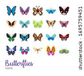 Bundle Of Butterflies Set Icons ...