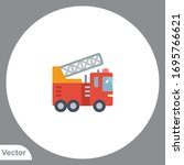 Fire Truck Icon Sign Vector...