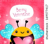 happy valentines card. cute... | Shutterstock .eps vector #169577417