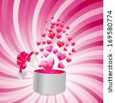 valentines day card with gift...   Shutterstock . vector #169580774