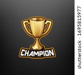 champion trophy mascot gaming.... | Shutterstock .eps vector #1695815977