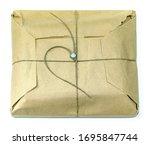 brown paper parcel packet tied...   Shutterstock . vector #1695847744